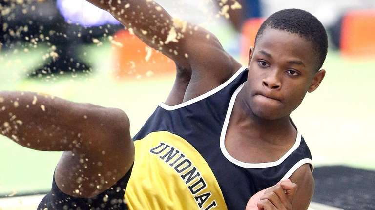 Uniondale's Jadan Hanson competes in the boys triple