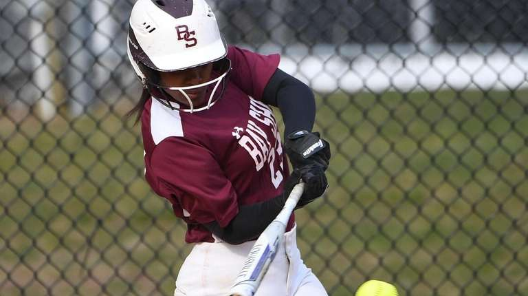 Bay Shore's Jazmine Cuffie singles against Ward Melville