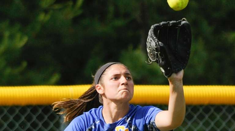 East Meadow's Julianna Sanzone catches a fly ball
