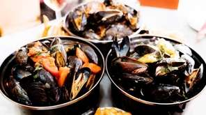 Pots of steamed mussels are a specialty at