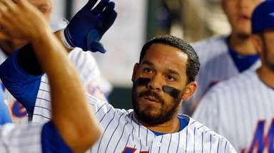 Rene Rivera #44 of the Mets celebrates his