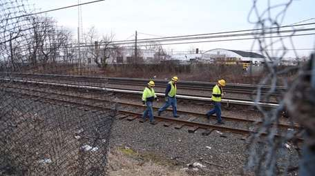 A fallen power line on the LIRR tracks