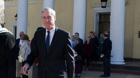 Special counsel Robert Mueller departs St. John's Episcopal
