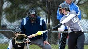 Kings Park's Sarah Robertson connects for a single