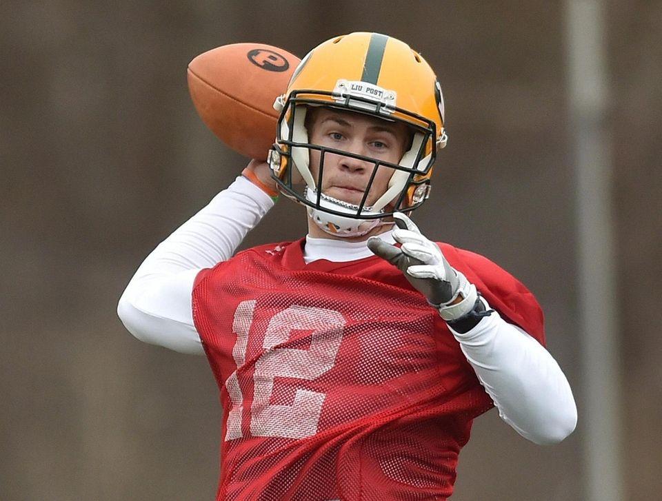 Clay Beathard, LIU Post quarterback, throws a pass