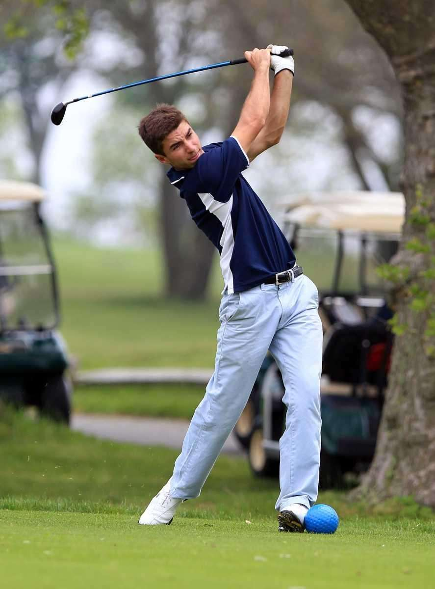 Bayport-Blue Point's Mike Giannico tees off on the