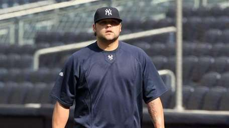 Yankees reliever Joba Chamberlain during warmups prior to