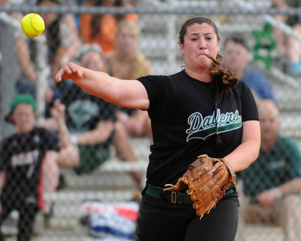 Farmingdale's Isabella Corrao throws to first base for
