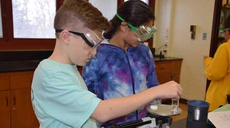 Students in science class at Great Hollow Middle