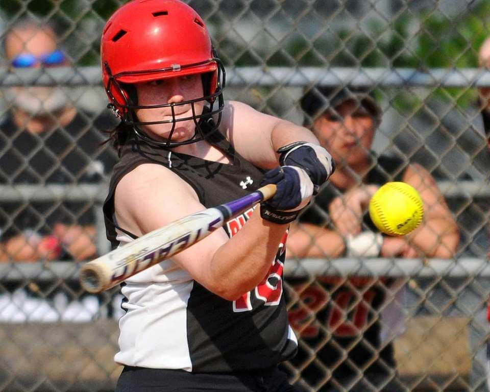 Plainedge's Taylor Curran lines a sacrifice fly to