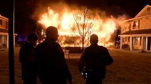 Firefighters battled an intense blaze at a gated