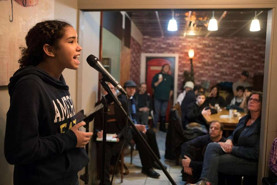 Gabrielle Baker, 12, of Bay Shore, performs during