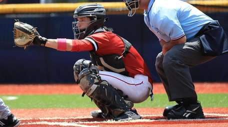 Catcher Alec Maag #6 of Center Moriches waits