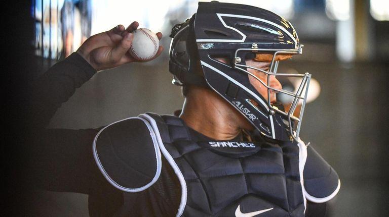 Yankees catcher Gary Sanchez in the bullpen at