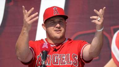 LA Angels centerfielder Mike Trout during a news