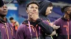 Oklahoma quarterback Kyler Murray watches drills at the
