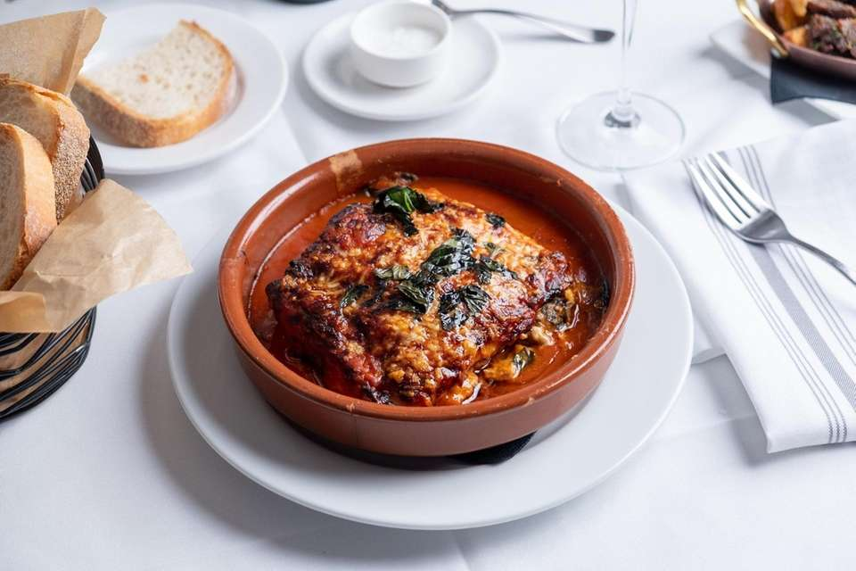 Lasagna rustico filled with chestnuts, veal ragu and