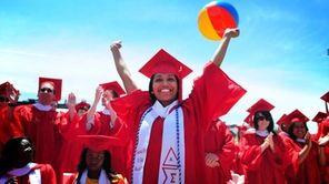 Anthropology student Aneta Bose celebrates during her graduation
