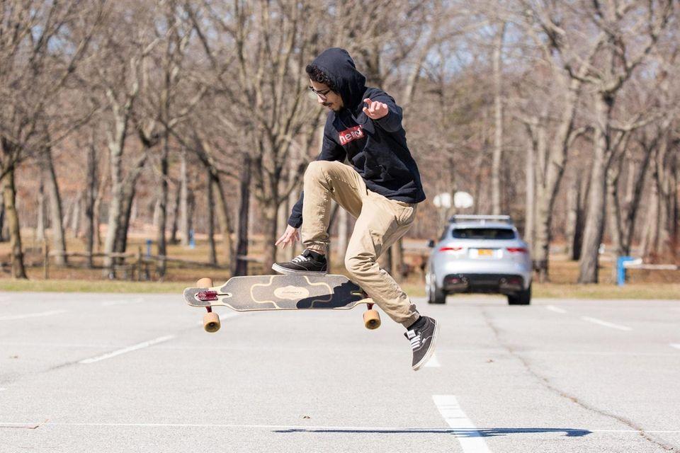 Anthony Sosa of North Babylon, 21, catches some