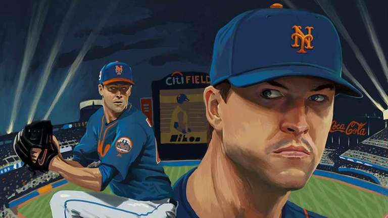 An illustration of Mets ace pitcher Jacob deGrom.