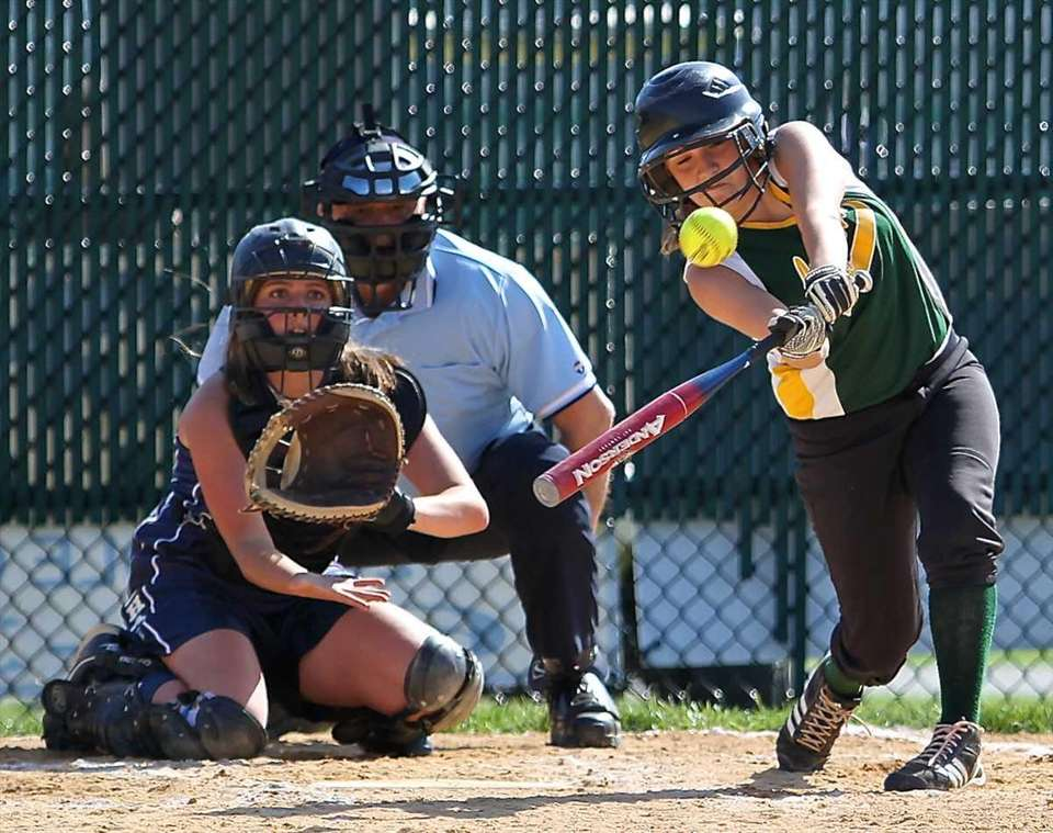 Longwood's Alex Russo drives a hit to left