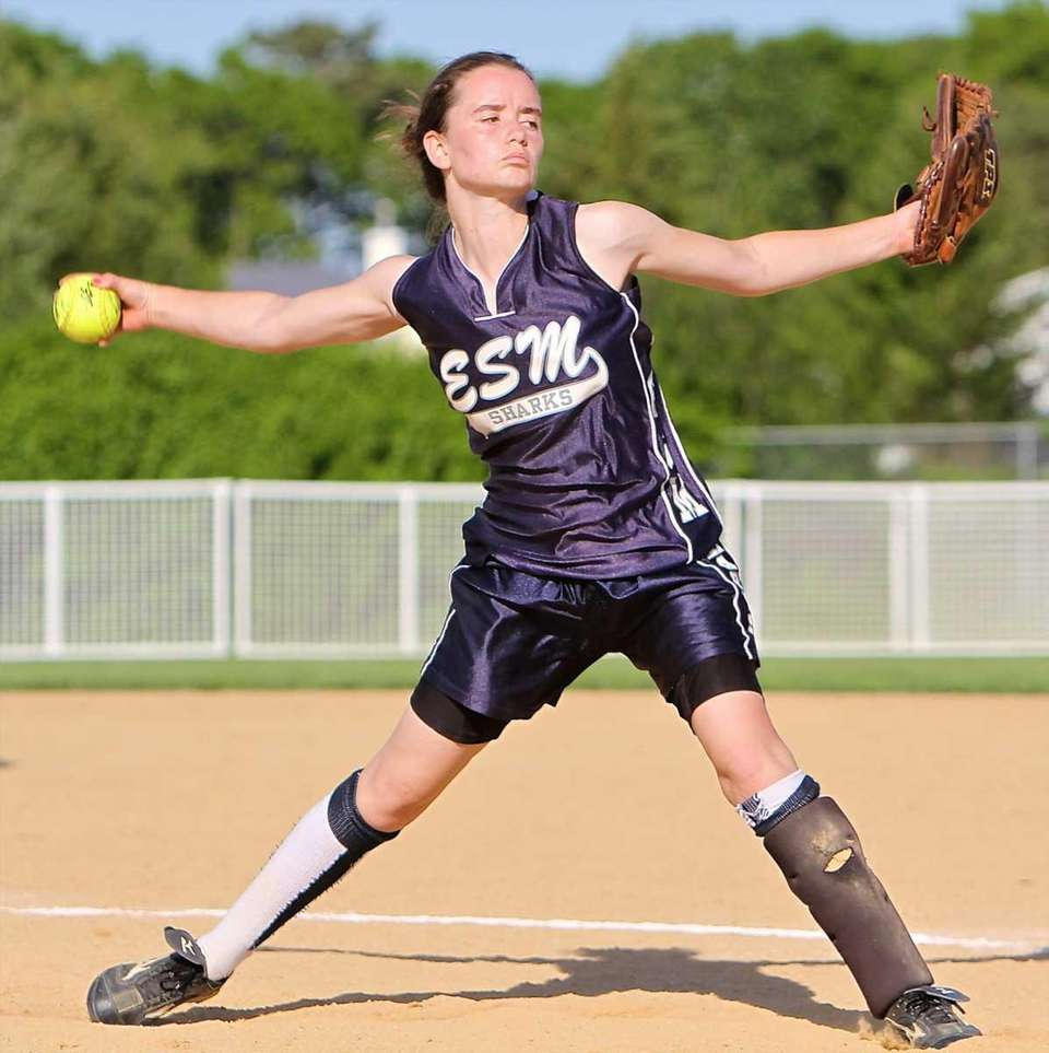 Starting pitcher for Eastport-South Manor Catherine Havens #5.