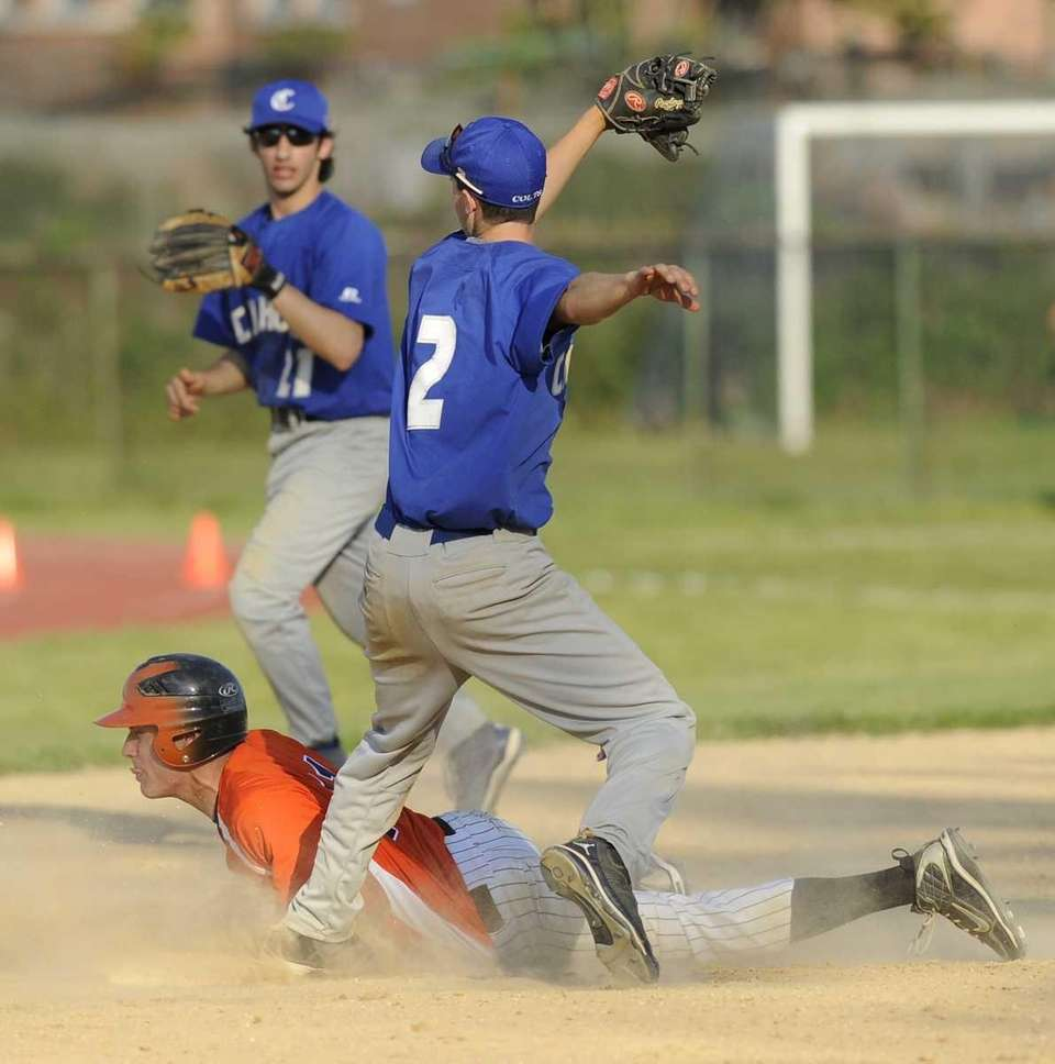 Carey's Kyle DeMeo steals second ahead of a