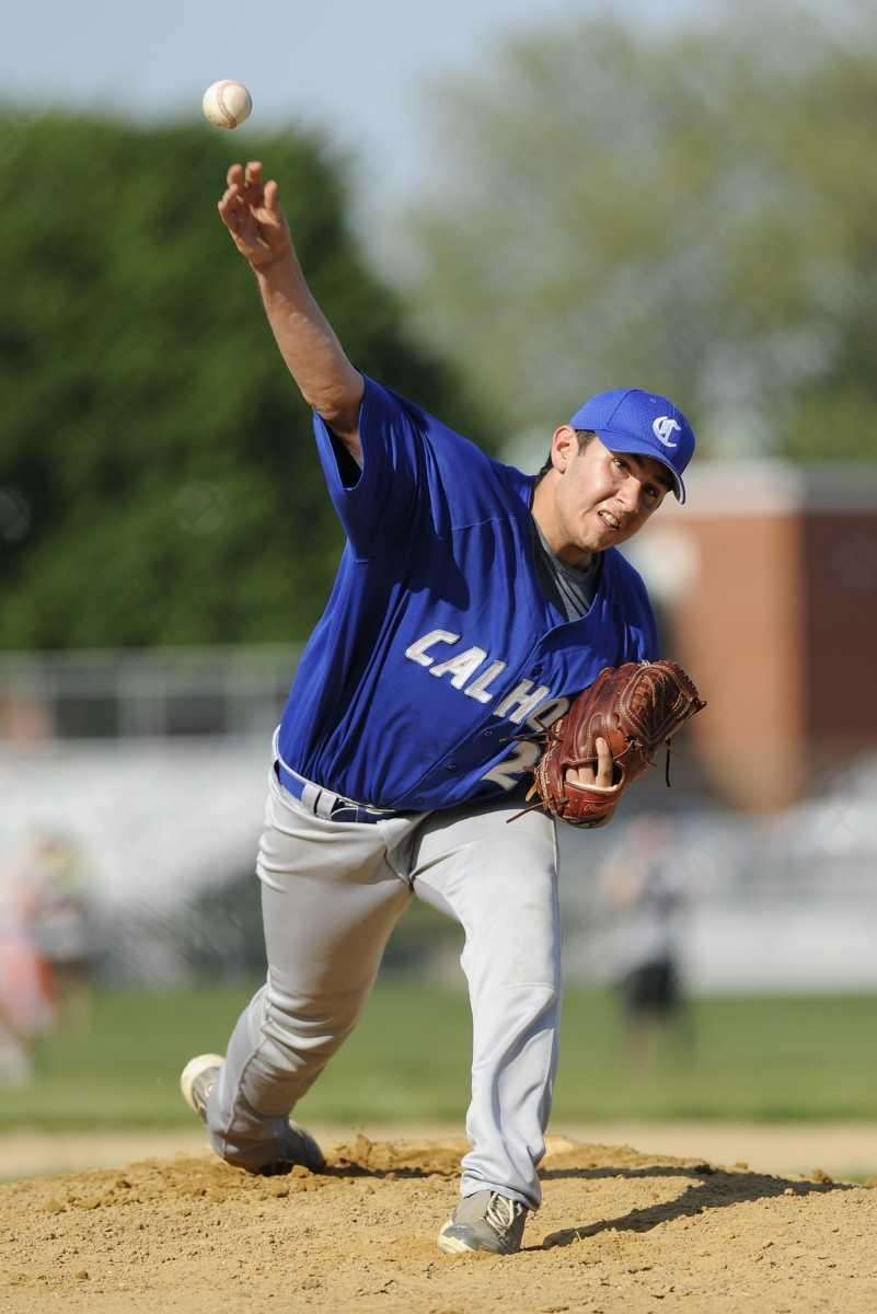 Calhoun pitcher Joe Christopher delivers to the plate