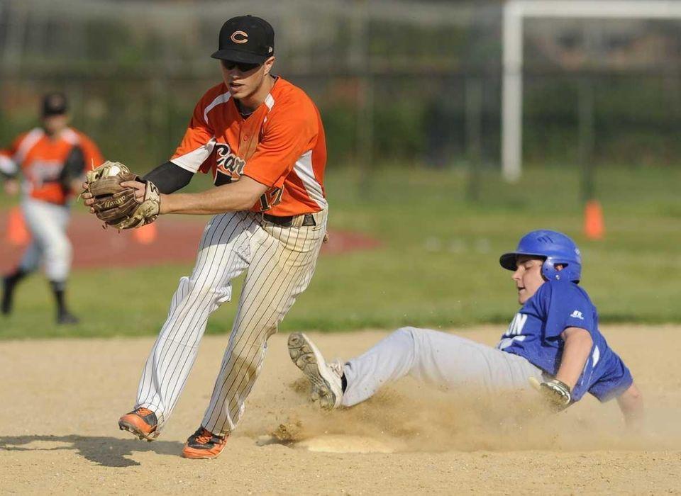 Carey first baseman Ron Licciardi gets Calhoun's Johy