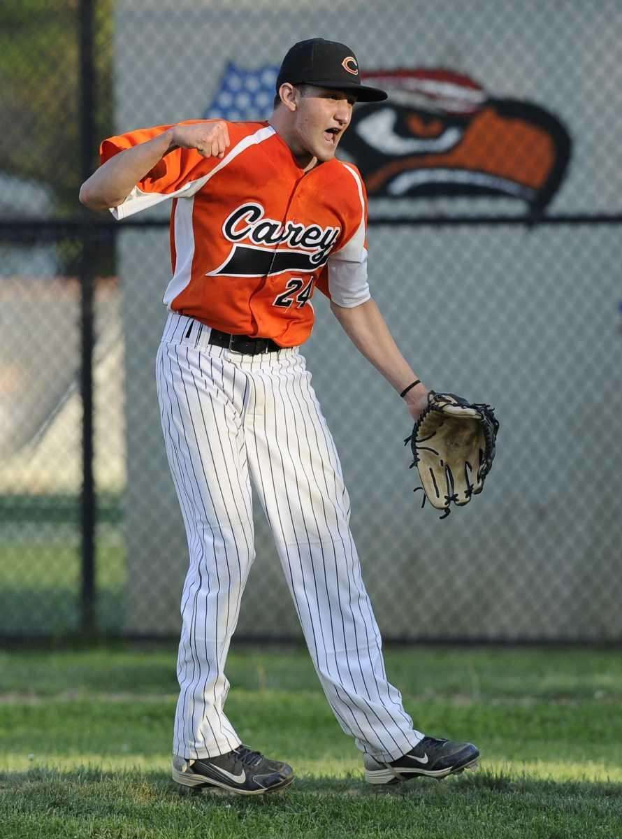 Carey pitcher Jesse Montalto reacts after striking out