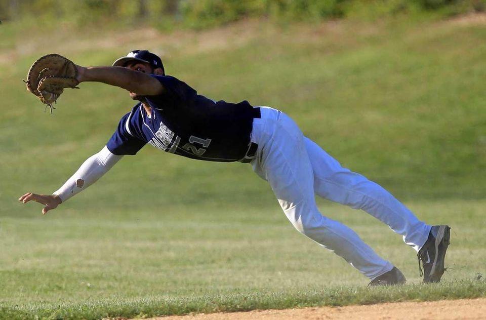 Eastport first baseman Joe Gonzalez (21) makes a