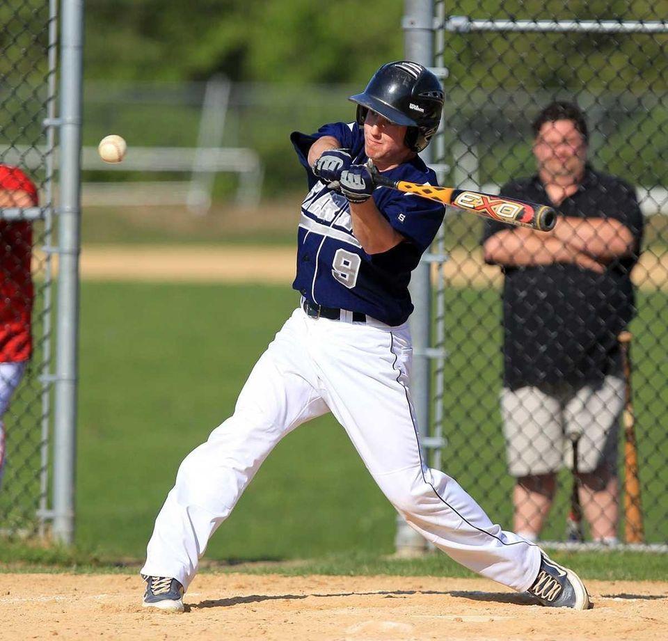 Eastport's Ryan Malvin (9) gets on base in