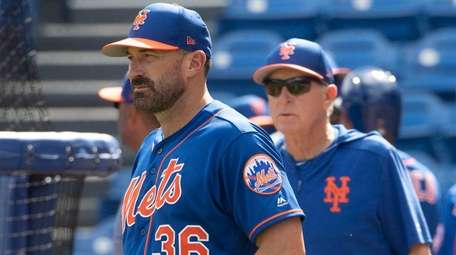 New York Mets Manager Mickey Callaway looks on