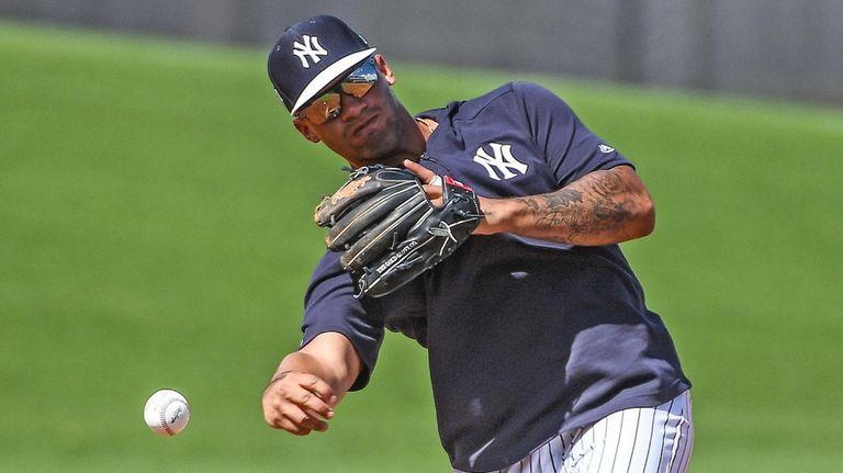 Yankees infielder Gleyber Torres during spring training in