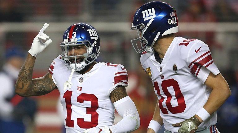 Giants wide receiver Odell Beckham Jr. and quarterback