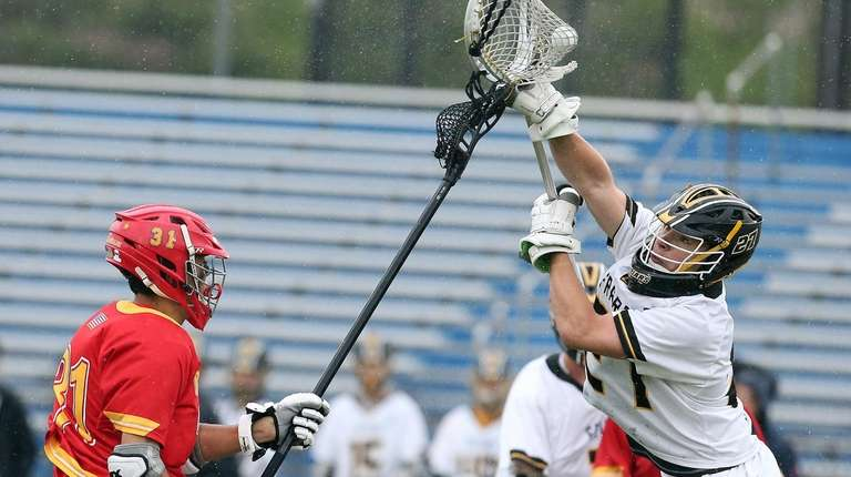 St. Anthony's goalie Alex Pazienza makes a save
