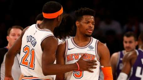 Dennis Smith Jr. of the Knicks reacts with