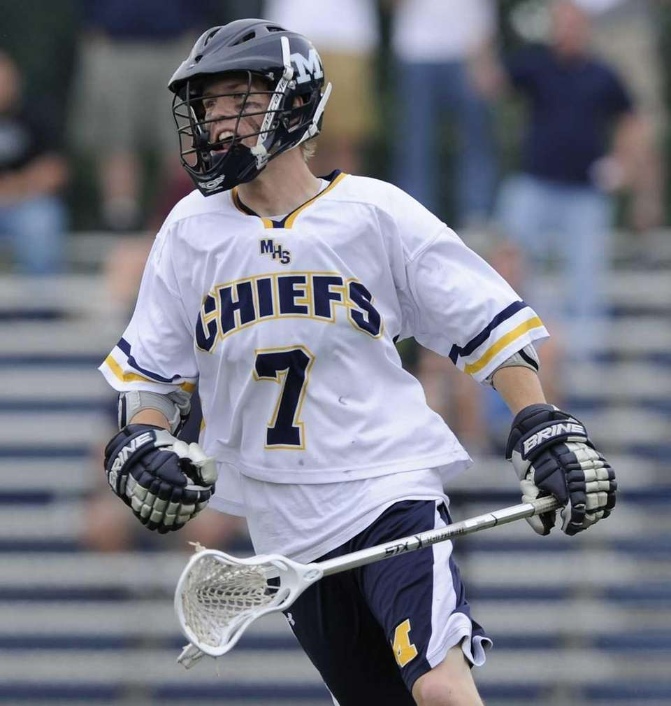 Massapequa attacker Jamie Shand reacts after scoring against
