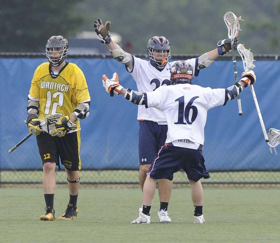 Manhasset's Harry Kucharczyk celebrates his fourth goal against