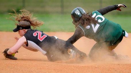 Plainedge High School shortstop #2 Kaitlyn Finnen, left,