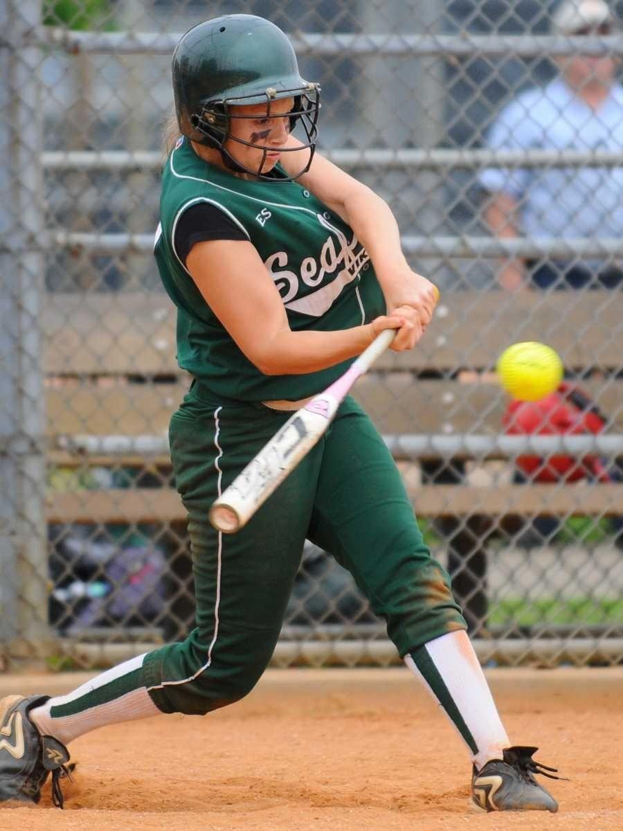 Seaford High School shortstop #1 Victoria Wink drills