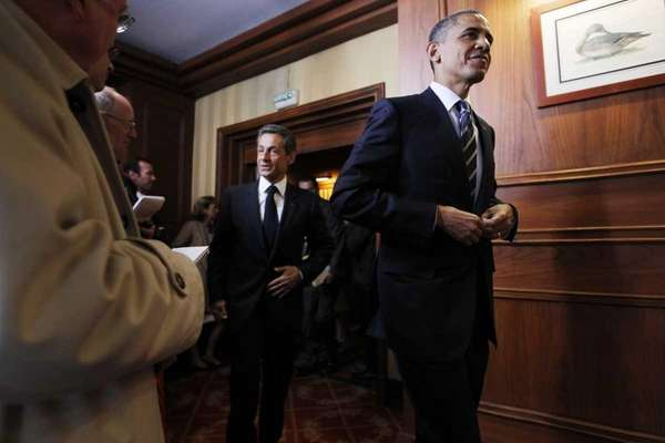 President Barack Obama and French President Nicolas Sarkozy