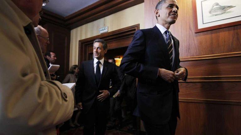 President Barack Obama and French President Nicolas Sarkozy