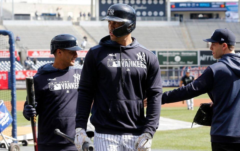 Giancarlo Stanton #27 of the New York Yankees