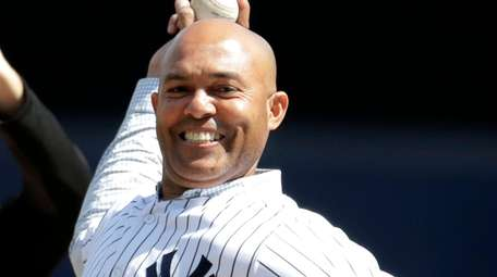 Former Yankees closer Mariano Rivera throws the ceremonial