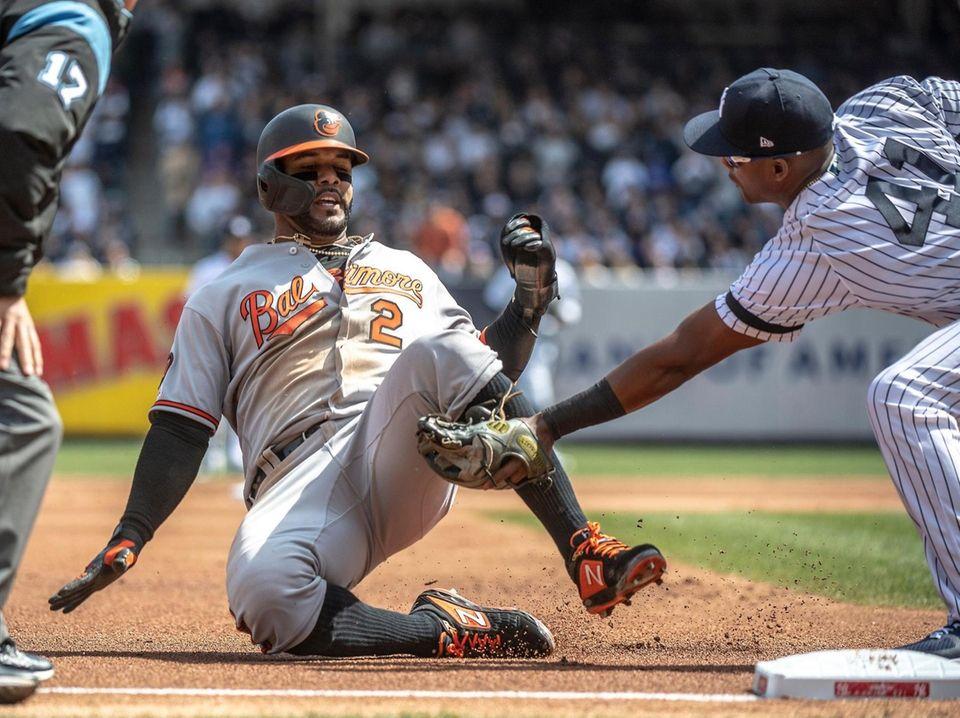 New York Yankees' Miguel Andujar tags the Baltimore