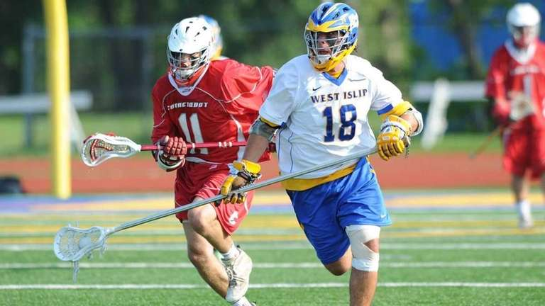 West Islip's Kyle Carrick brings the ball up