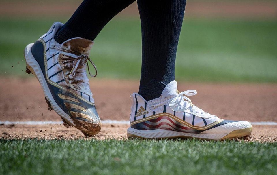 New York Yankees' Aaron Judge's shoes at third