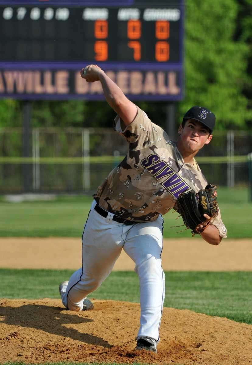 Sayville senior Nick Petrella throws a pitch in