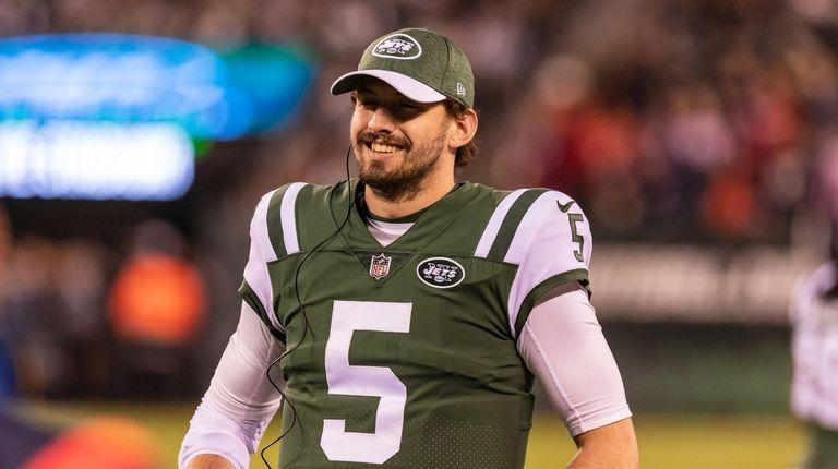 New York Jets quarterback Davis Webb (5) during